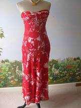 DONNA RICCO Cocktail White and Red Strapless Dres Size 2 100% Silk - $40.59
