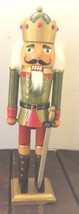 Christmas Wooden Nutcracker King French Lacquer Green Finish Holiday Shiny - $32.71