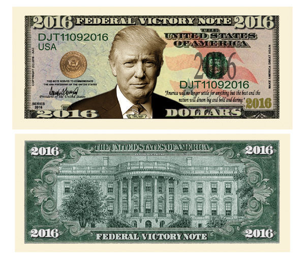 Primary image for 100 Donald Trump President Money Fake Dollar Bills 2016 Federal Victory Note Lot