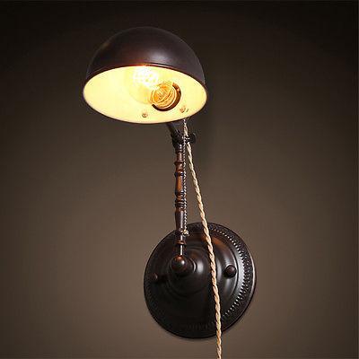 Vintage Dome Sconce Adjustable E27 Light Wall Lamp Home Plug Lighting Fixture