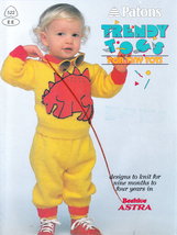 PATONS TRENDY TOGS FOR TINY TOTS KNIT 9 MO. TO 4 YEARS DINO FROG LADYBUG... - $8.98