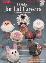 CROCHET HOLIDAY JAR LID COVERS XMAS EASTER HALLOWEEN + 1989 LEISURE ARTS... - $7.98