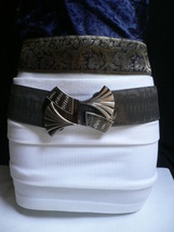 New Women Fashion Belt Elastic Gray Color Faux Leather Bow Metal Buckle ... - $19.59