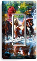 Wild Running Horses Forest Waterfall Single Gfci Light Switch Wall Plate Cover - $8.99