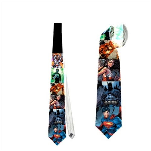 necktie Justice JLA Superman Wonderwoman Batman Green lantern Cyborg Flash tie