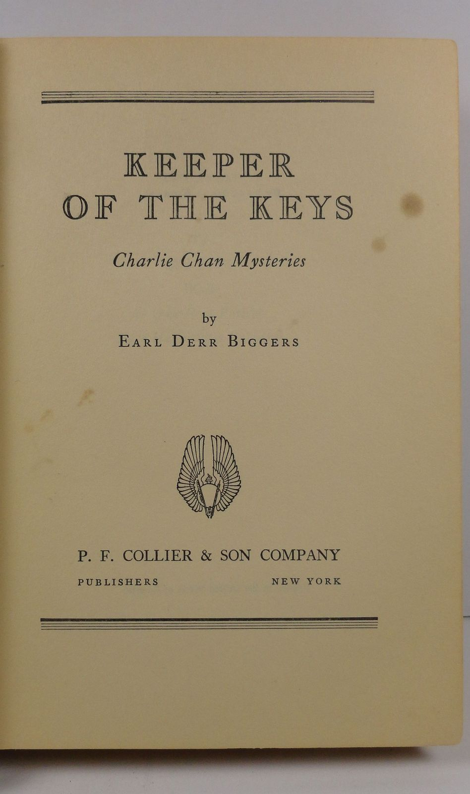 Keeper of the Keys Earl Derr Biggers Charlie Chan Mysteries