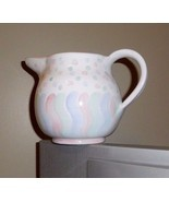 ITALIAN HAND CRAFTED PITCHER WHITE W/PASTEL PRI... - $7.71