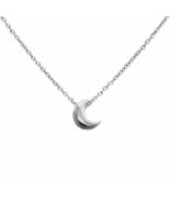 Tiny Silver Crescent Moon Necklace, Small 925 Sterling Silver Moon Necklace - $16.00