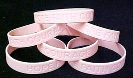 Breast Cancer Awareness Silicone Bracelets Pink Support 6 pc Lot Latex F... - $9.77