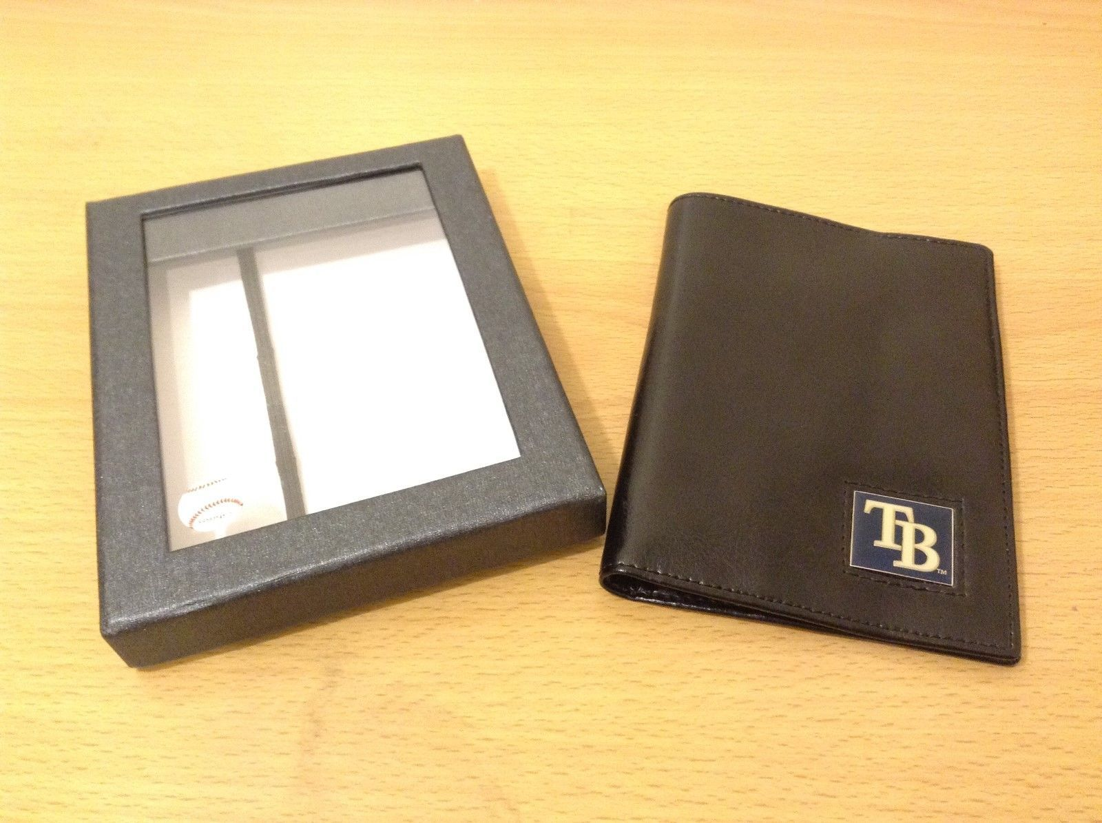 Officially Licensed Tampa Bay Rays Folio Style Black Faux Leather Wallet
