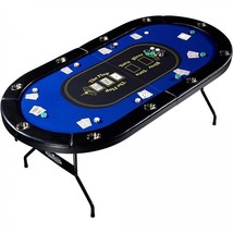 Poker Table 10 Player Man Cave No Assembly Required Premium Playing Surface - $325.47