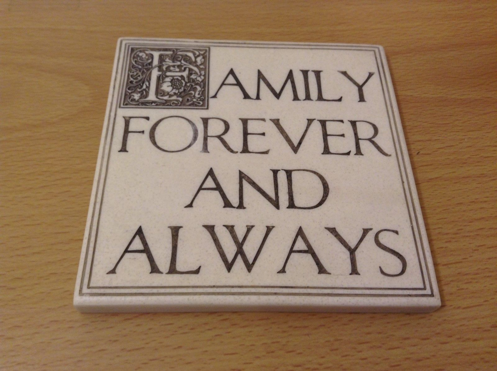 "NEW ""Family Forever and Always"" Resin Wall Plaque/Stand"