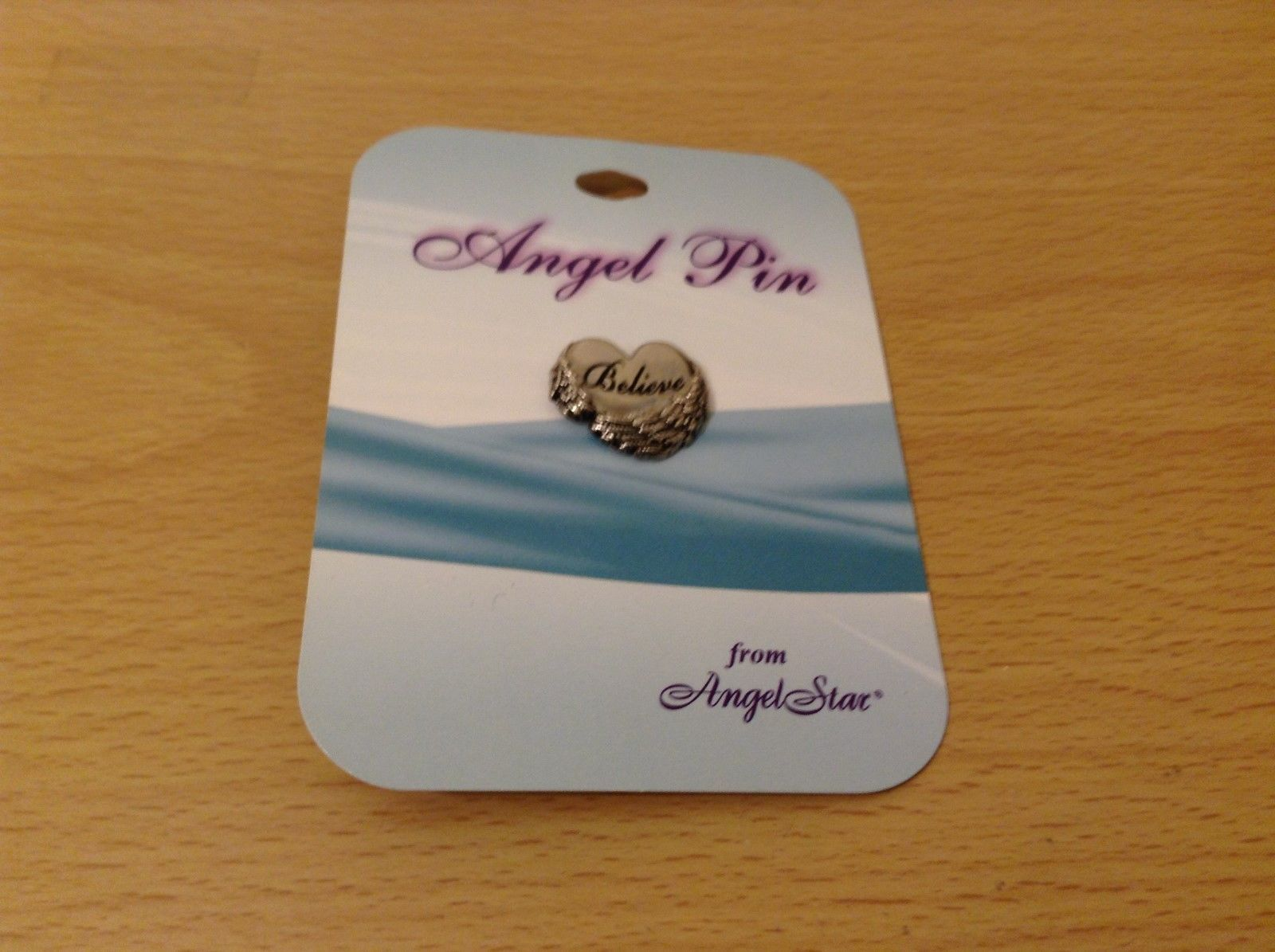 """NEW Silver tone Angel Pin """"Believe"""" From Angel Star"""