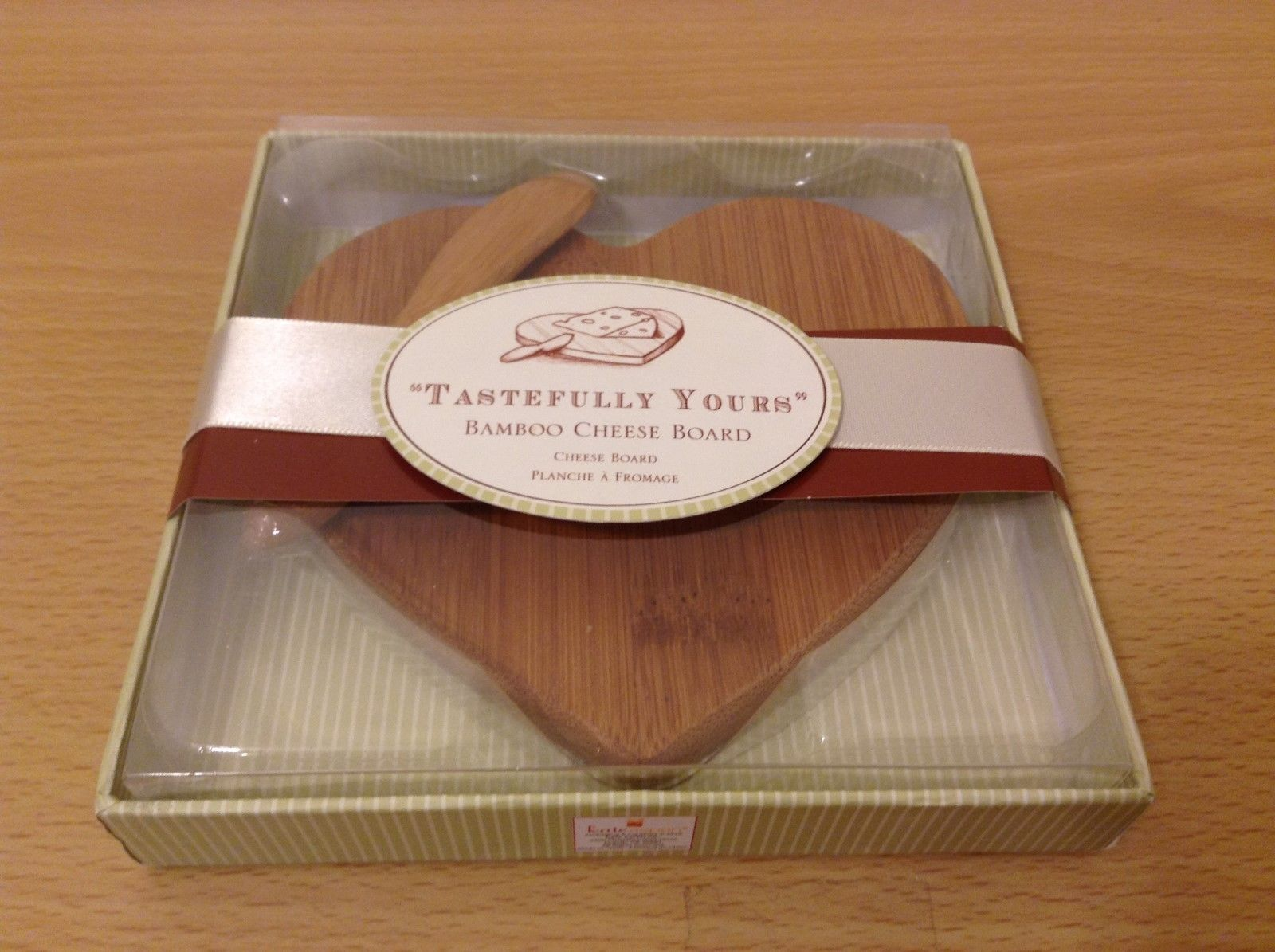"Kate Aspen ""Tastefully Yours"" Heart Shaped Bamboo Cheese Board"