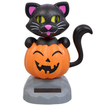 2 Pack Plastic Solar Powered Dancing Cats with Pumpkins Halloween Fall Decor