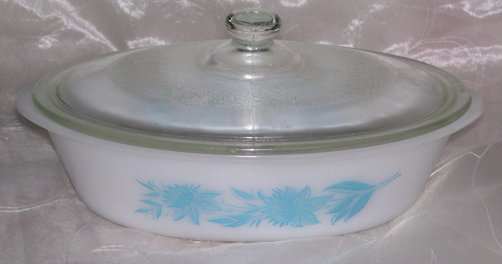 Vtg Glasbake Jeannette Oval 1 QT Casserole w/ Lid Aqua Blue Thistle Flowers VGUC