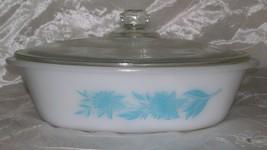 Vtg Glasbake Jeannette Oval 1 QT Casserole w/ Lid Aqua Blue Thistle Flow... - $8.95