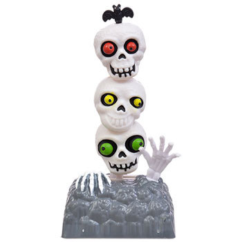 2 Pack Plastic Solar Powered Dancing Skulls Tower Halloween Fall Decor