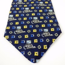 PC Floppy Disk CD Mens Necktie Pursuits 100% Silk Blue Novelty 54.5in Ti... - $14.26