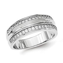 Men's 925 Sterling Silver Polished Double Row CZ Band Ring Size 9 - $41.35