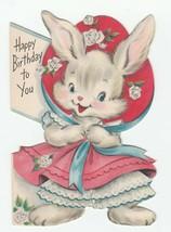 Vintage Birthday Card Dressed Bunny Rabbit Hallmark For a Child 1954 Die... - $8.90