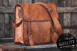 Leather computer bag men's shoulder satchel laptop women  briefcase vintage Bags image 3
