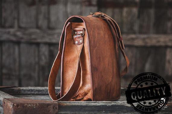 Leather computer bag men's shoulder satchel laptop women  briefcase vintage Bags image 4