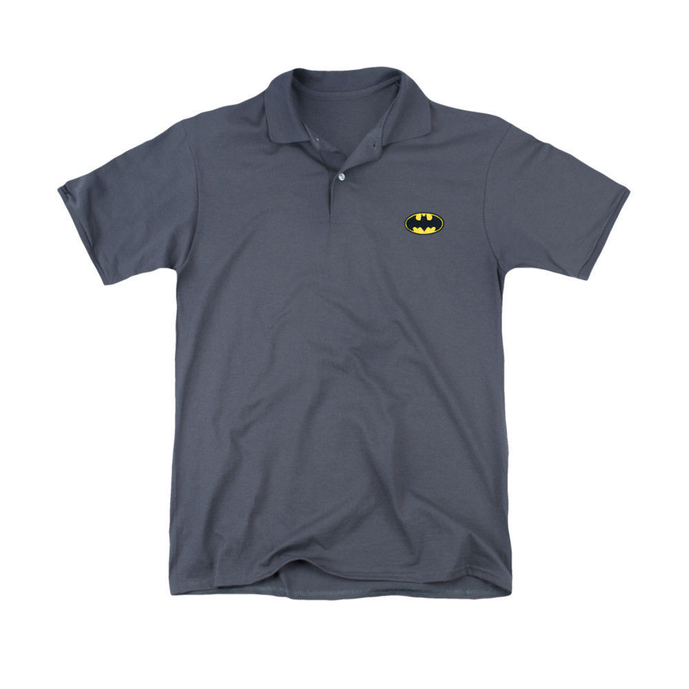 Primary image for BATMAN EMBROIDERED CLASSIC LOGO POLO SHIRT DC COMICS LICENSED NEW BM2533