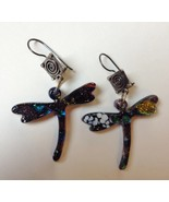 Black Dragonfly Fused Dichroic Glass Earrings U... - $125.00