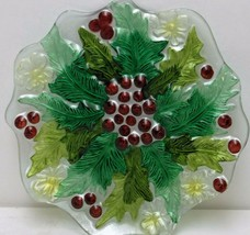 Round Scalloped Christmas Plate with Holly Decoration - $18.70