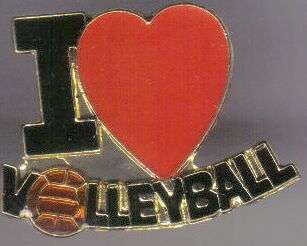 12 Pins - I LOVE VOLLEYBALL , hat lapel pin #612