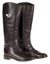 Tory Burch Joanna RIding Boots Size 9.5 Coconut Brown Worn 1 Time - $237.59
