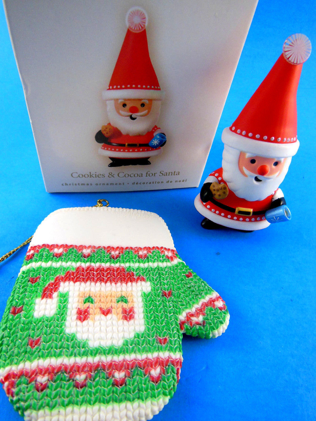"Primary image for 2008 NEW Hallmark 3"" Cookies & Cocoa For Santa + Current 3.25"" Mitten ornaments"