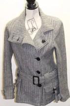 Zara TRF Women Trench Jacket Chevron Black Tweed Belt M Wool Double Breasted - $30.68