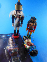 """4 Nutcrackers Lot 6"""" Wood 4"""" Plastic 4"""" glass & Light cover Christmas Or... - $15.98"""