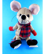 """Snowden 8"""" MOUSE Plush Doll Christmas Ice Skaing Excellent condition - $7.56"""