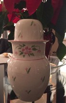 Pink Roses Tumble Up Bedside Water Carafe Pitcher Cup Ceramic Vtg 1985 T... - $19.99