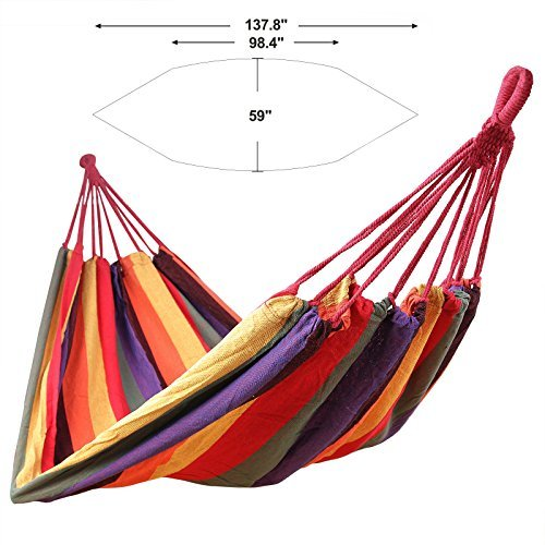 Outdoor Cotton Hammock Comfortable Extra Large Portable, Red