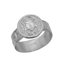 Egyptian Egypt Ring Scarab beetle Sterling silver hieroglyphics .925 No ... - $34.29