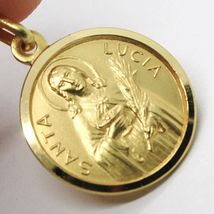 18K YELLOW GOLD HOLY ST SAINT SANTA LUCIA LUCY ROUND MEDAL MADE IN ITALY, 15 MM image 4