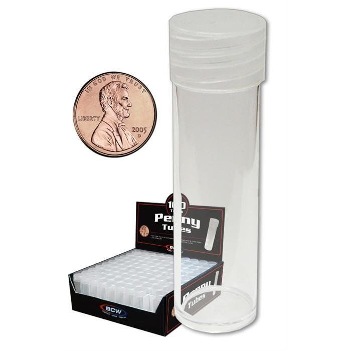 10 New BCW Round Penny / Cent Clear Plastic Coin Storage Tubes w/ Screw On Caps