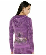 Juicy Couture Dewberry Purple Velour Crown Crest Hoodie - Large - $85.00
