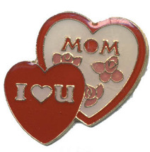 12 Pins - MOM I LOVE YOU , mother heart lapel pin #4655 - $8.00