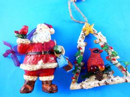 "Santa w Cardinal & Bird House + Cardinal on tree shaped Christmas Ornament  4.5"" - $13.45"