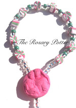 Pink and green Rosary, Baptism Rosary, decade r... - $49.00
