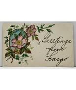 Fargo North Greetings Embossed Glitter Decorated 1908 to Douglas Postcar... - $5.99