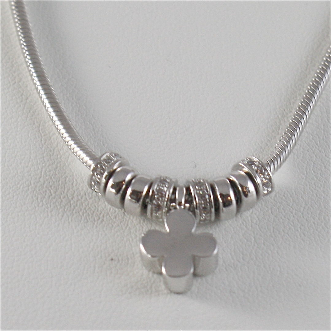925 RHODIUM SILVER JACK&CO NECKLACE WITH FOUR LEAF CLOVER PENDANT MADE IN ITALY