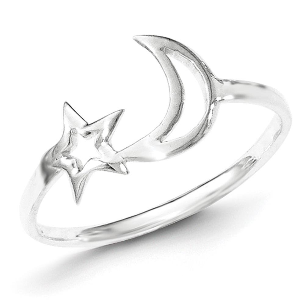 925 Sterling Silver Polished Star & Moon Ring Size 7