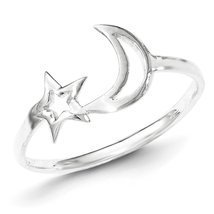 925 Sterling Silver Polished Star & Moon Ring Size 7 - $18.79