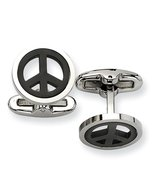 Stainless Steel Men's IP Black-plated Peace Symbol Cuff Links by Chisel - $33.96